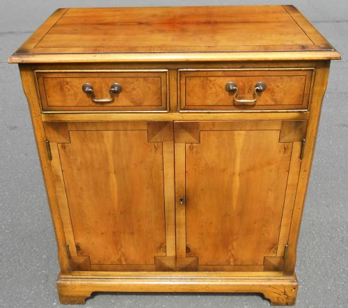Small Yew Wood Cupboard Sideboard